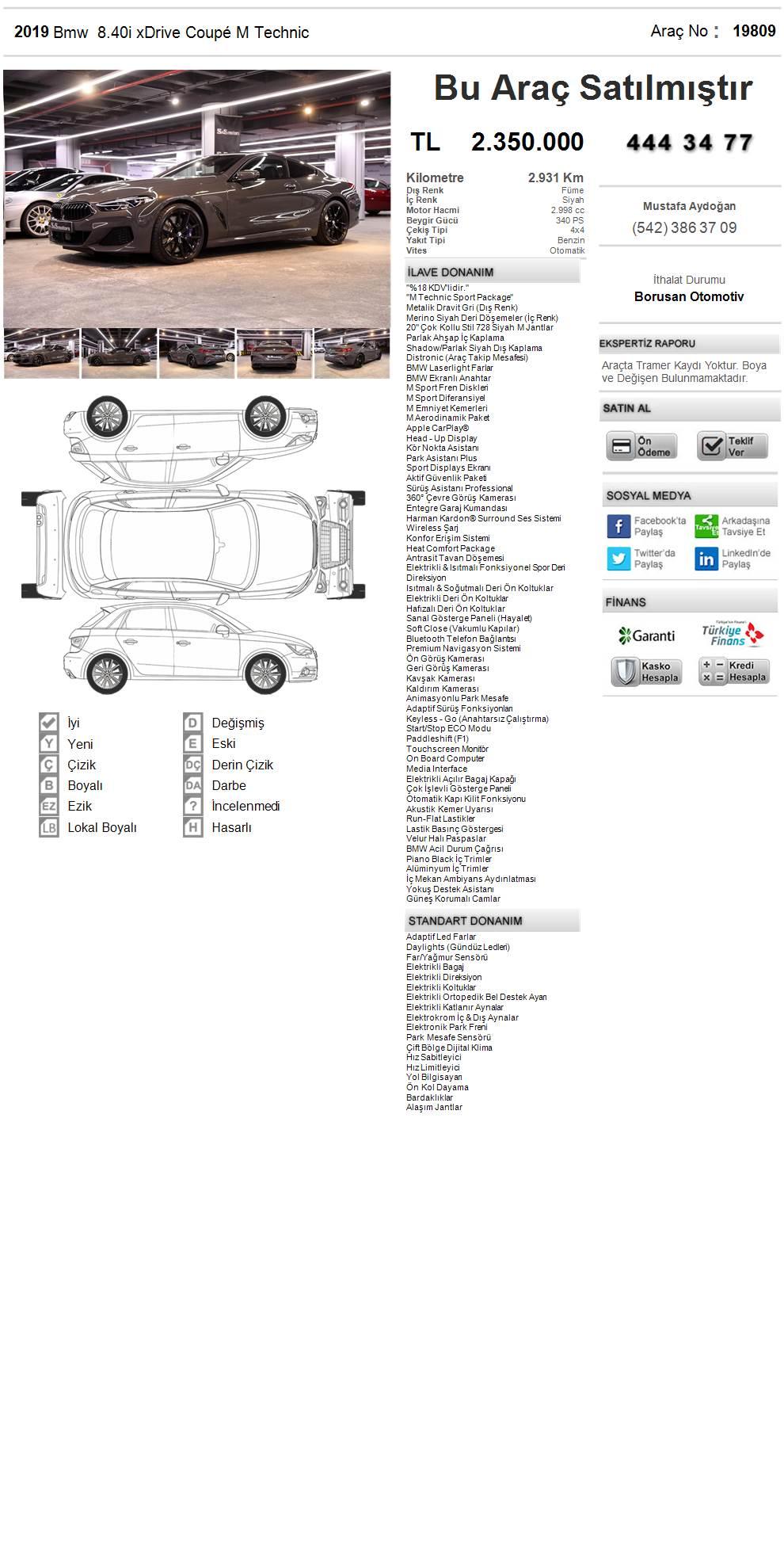 Galeriden Bmw 8 Serisi 840i Xdrive 2019 Model Istanbul 2 931 Km